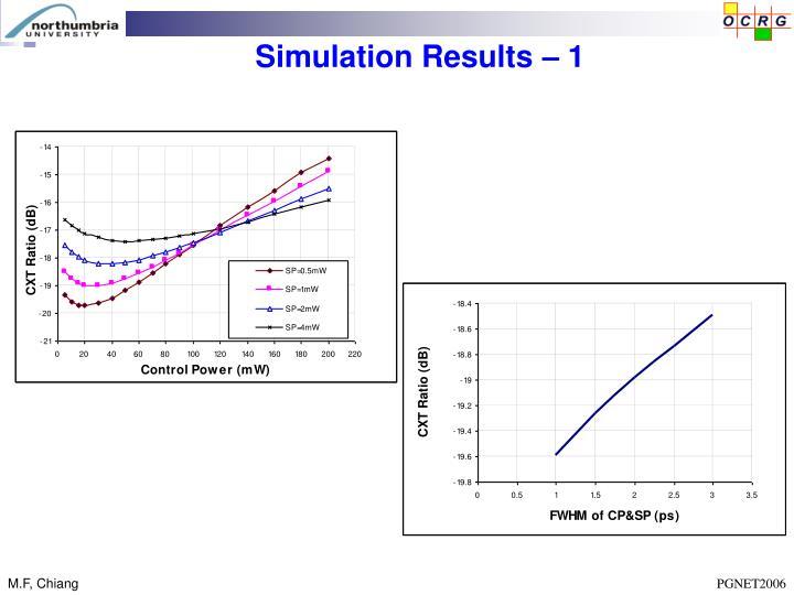 Simulation Results – 1