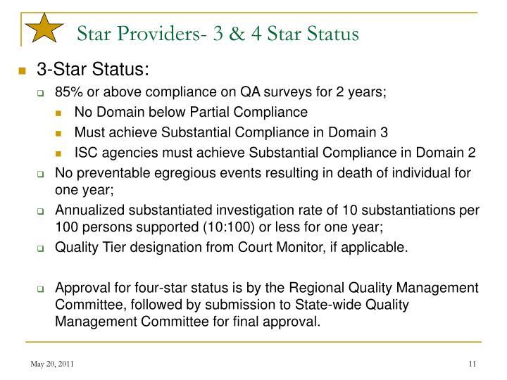 Star Providers- 3 & 4 Star Status