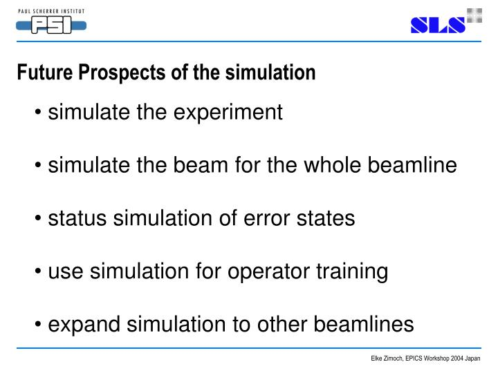 Future Prospects of the simulation