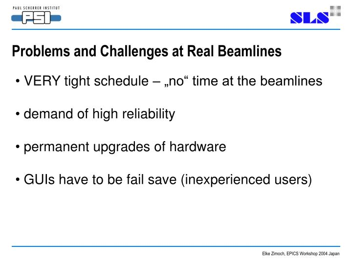 Problems and Challenges at Real Beamlines