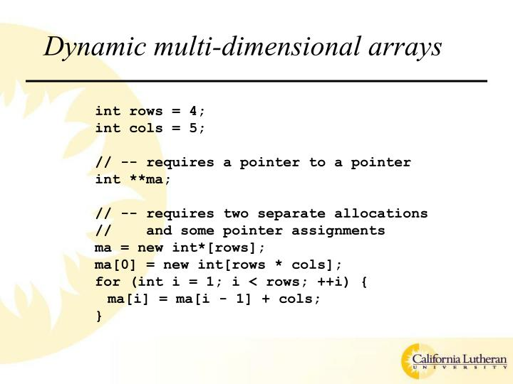 Dynamic multi-dimensional arrays