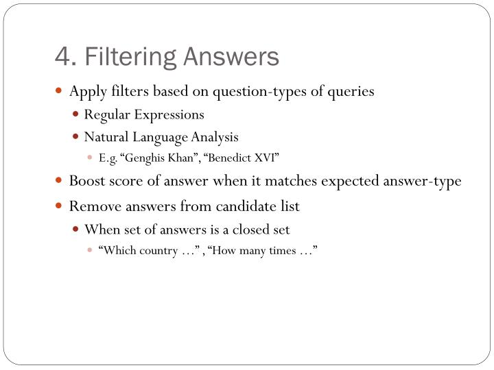 4. Filtering Answers