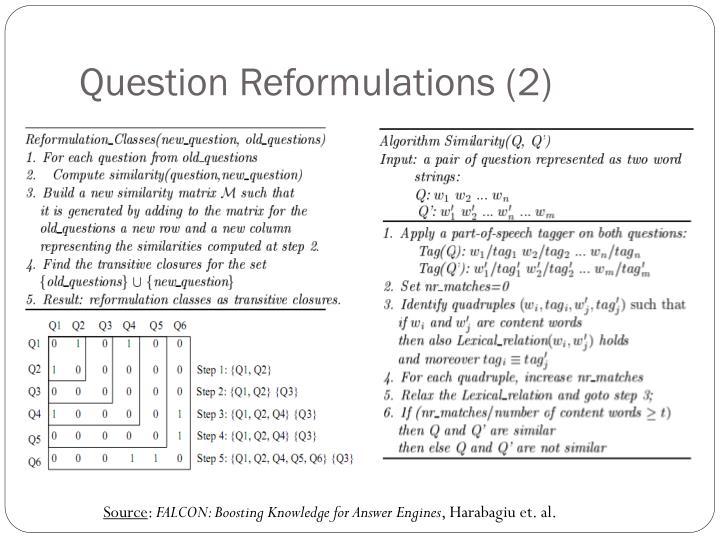 Question Reformulations (2)