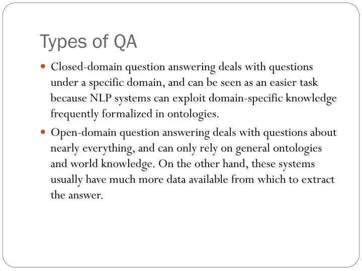 Types of QA
