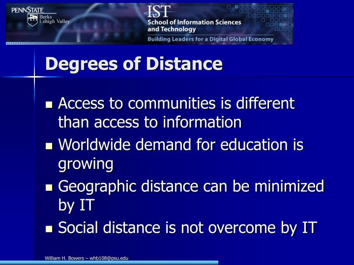 Degrees of Distance