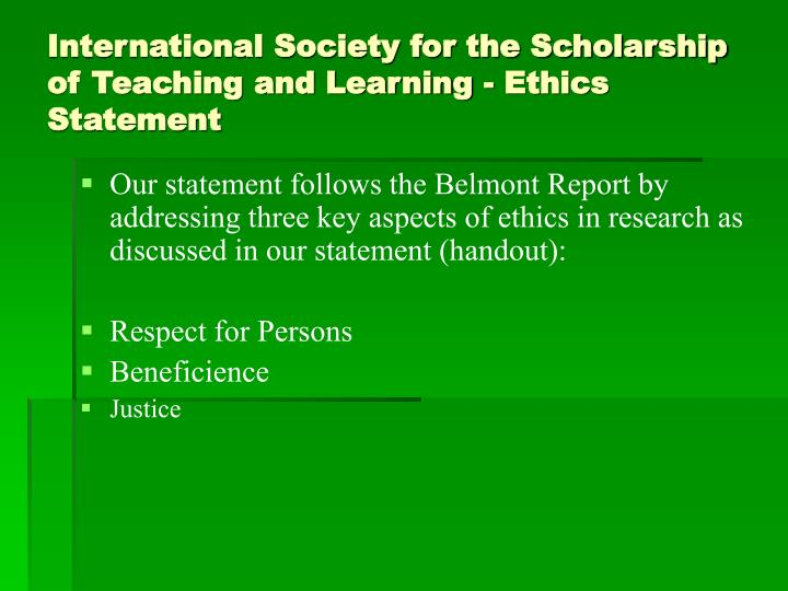 International Society for the Scholarship of Teaching and Learning - Ethics Statement