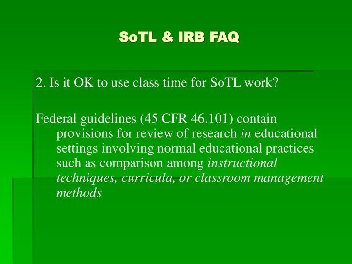 SoTL & IRB FAQ