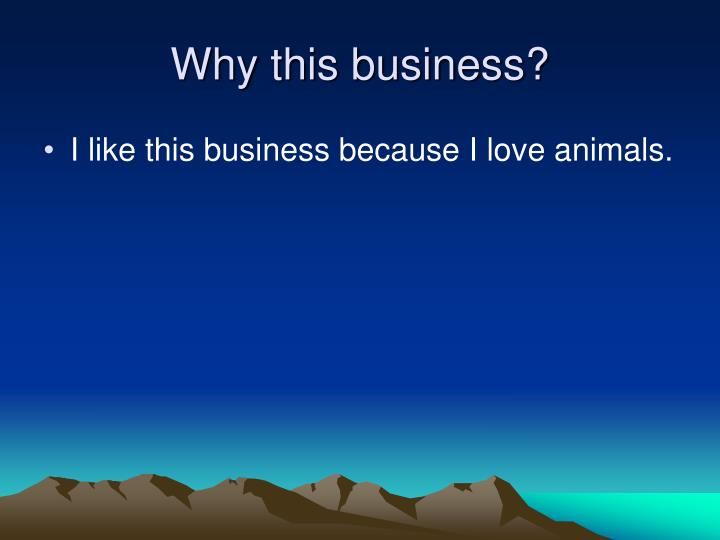 Why this business?