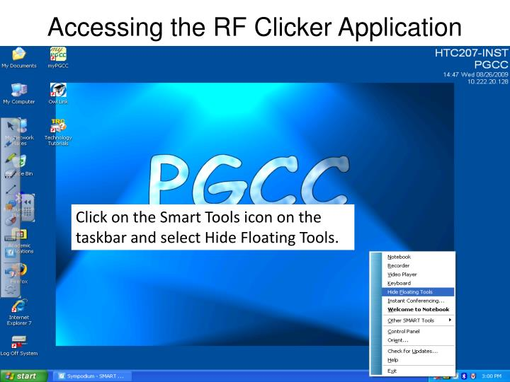 Accessing the rf clicker application2
