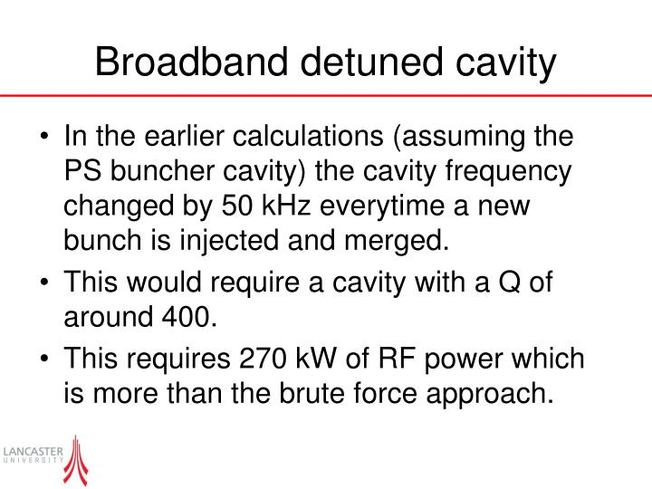 Broadband detuned cavity