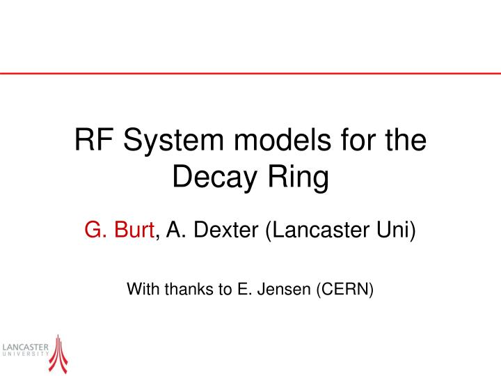 Rf system models for the decay ring