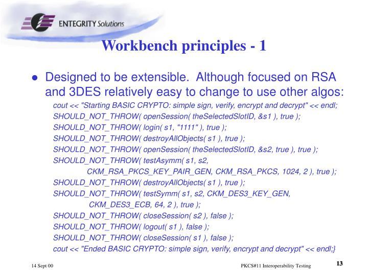 Workbench principles - 1