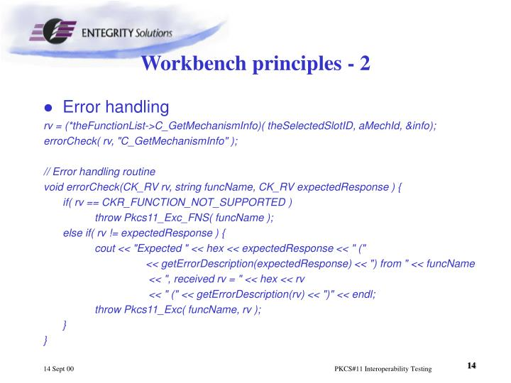Workbench principles - 2