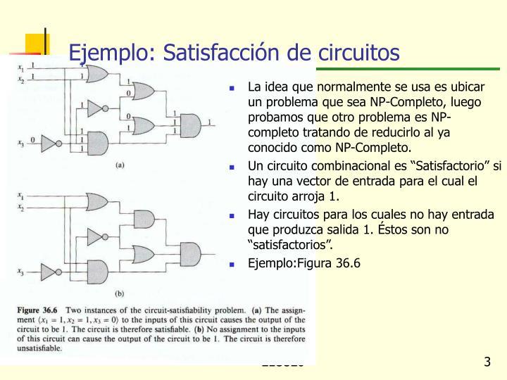 Ejemplo: Satisfacción de circuitos