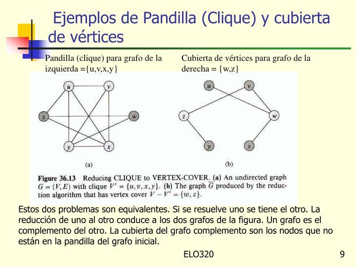 Ejemplos de Pandilla (Clique) y cubierta de vértices