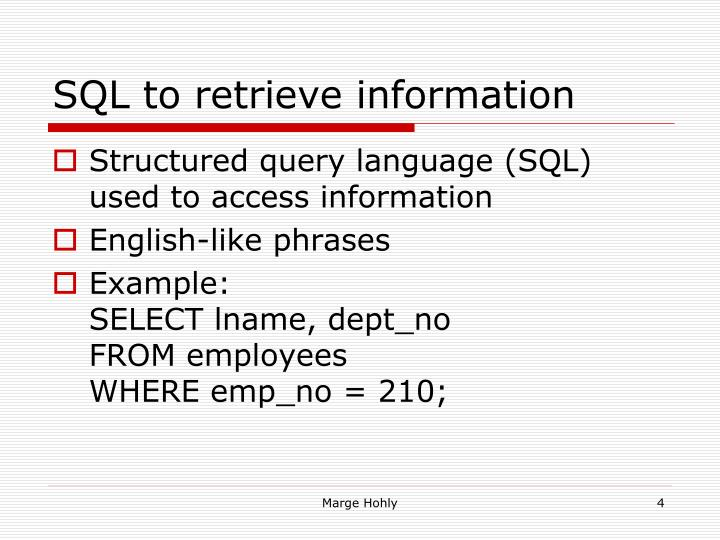 SQL to retrieve information