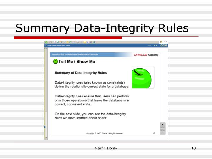 Summary Data-Integrity Rules