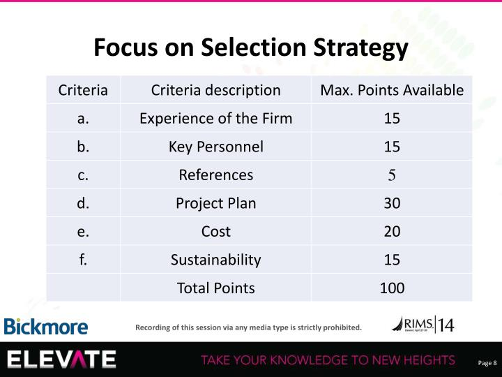 Focus on Selection Strategy