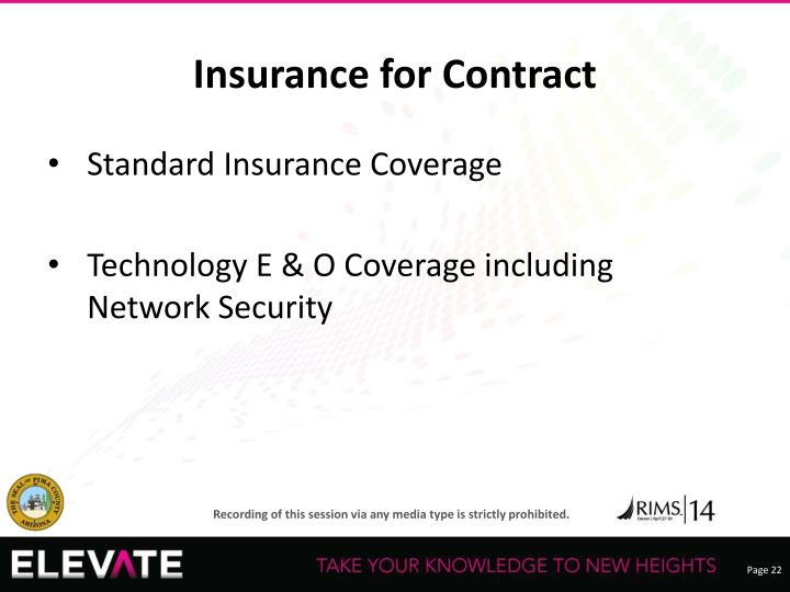 Insurance for Contract