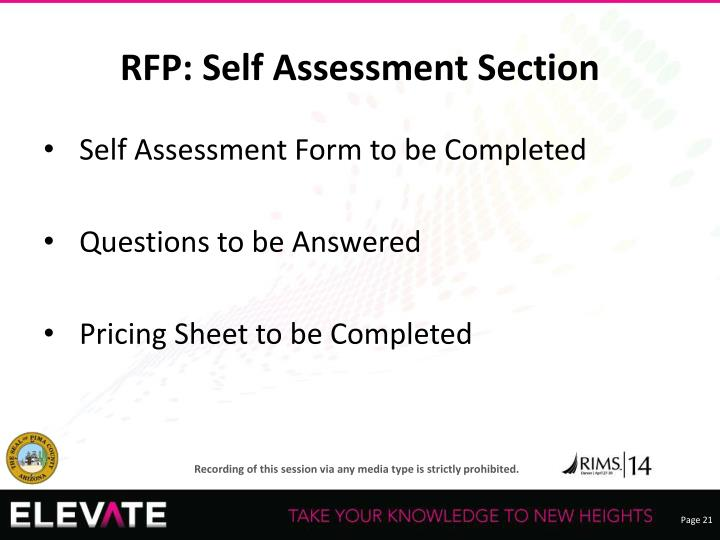 RFP: Self Assessment Section