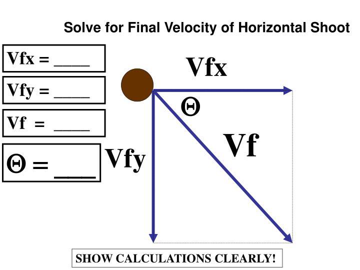 Solve for Final Velocity of Horizontal Shoot