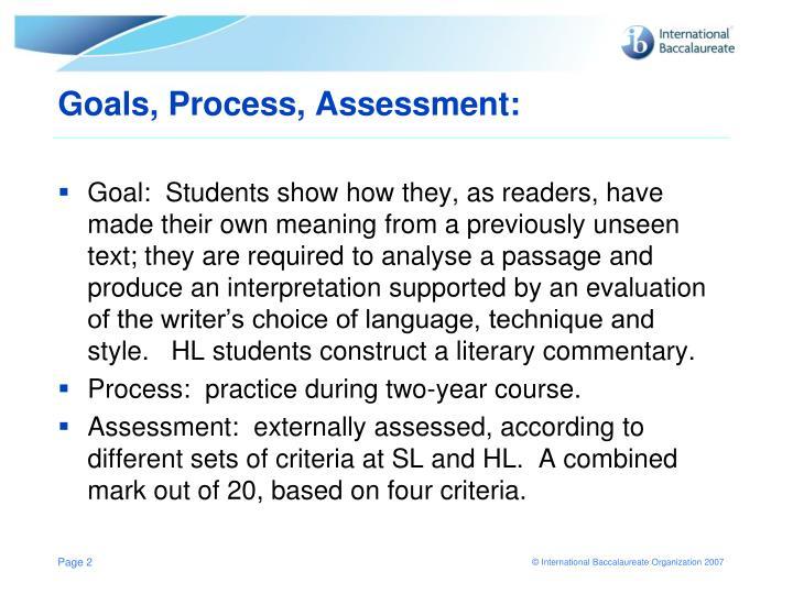Goals, Process, Assessment:
