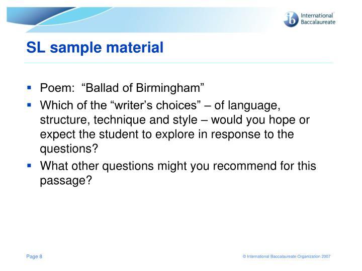 SL sample material