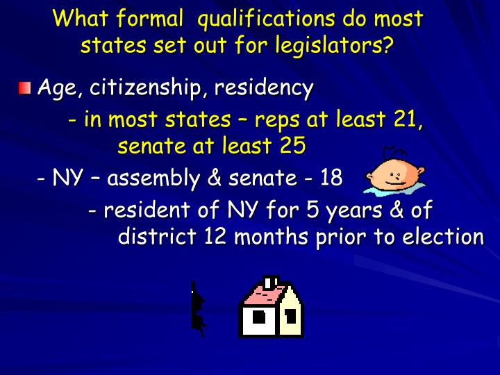 What formal  qualifications do most  states set out for legislators?