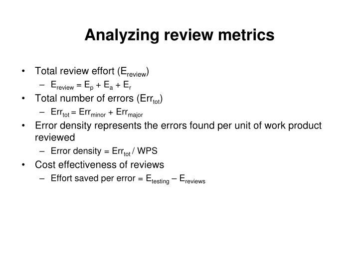 Analyzing review metrics