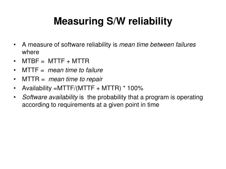 Measuring S/W reliability