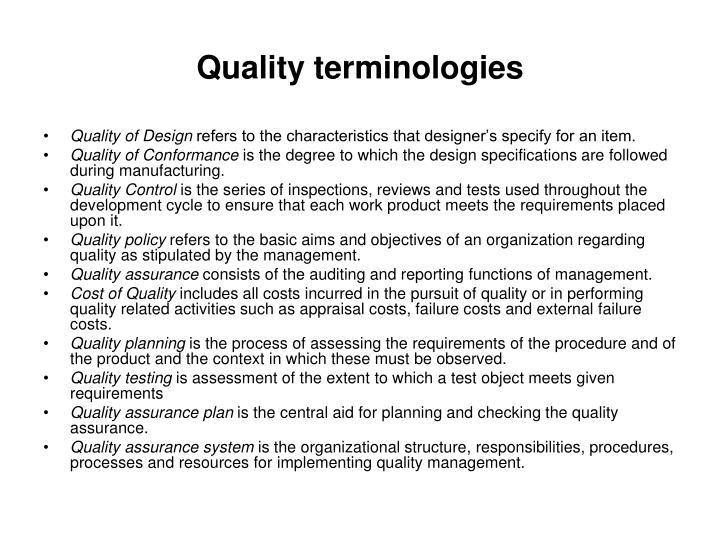 Quality terminologies