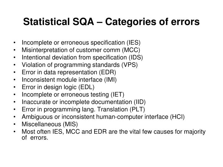 Statistical SQA – Categories of errors