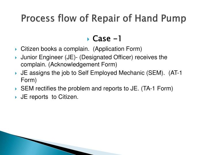 Process flow of Repair of Hand Pump