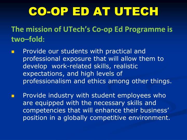 CO-OP ED AT UTECH