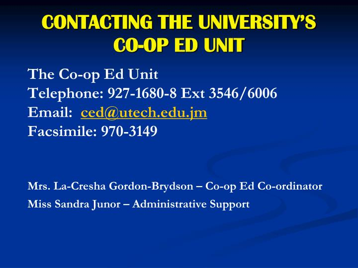 CONTACTING THE UNIVERSITY'S