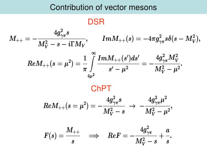 Contribution of vector mesons