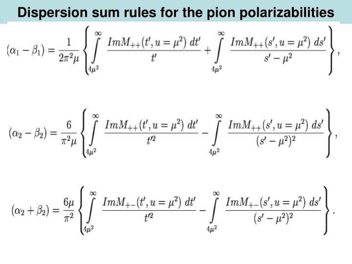 Dispersion sum rules for the pion polarizabilities