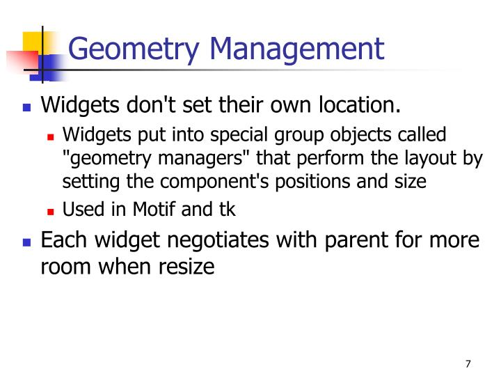Geometry Management
