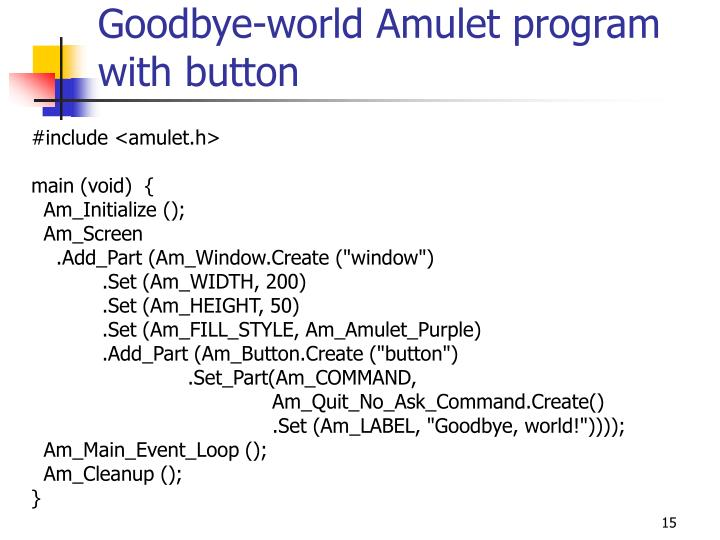 Goodbye-world Amulet program with button