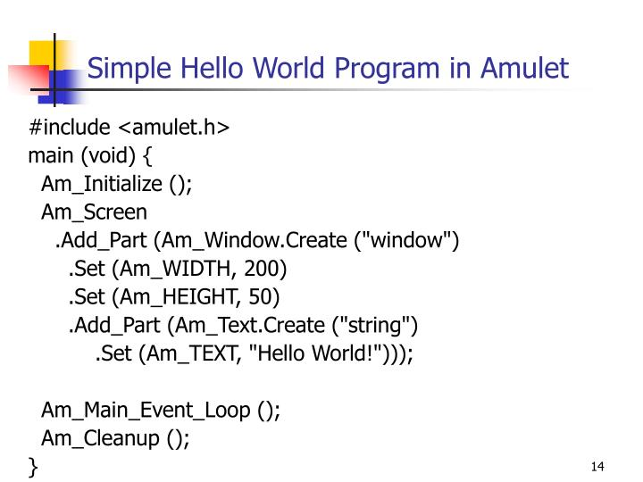 Simple Hello World Program in Amulet