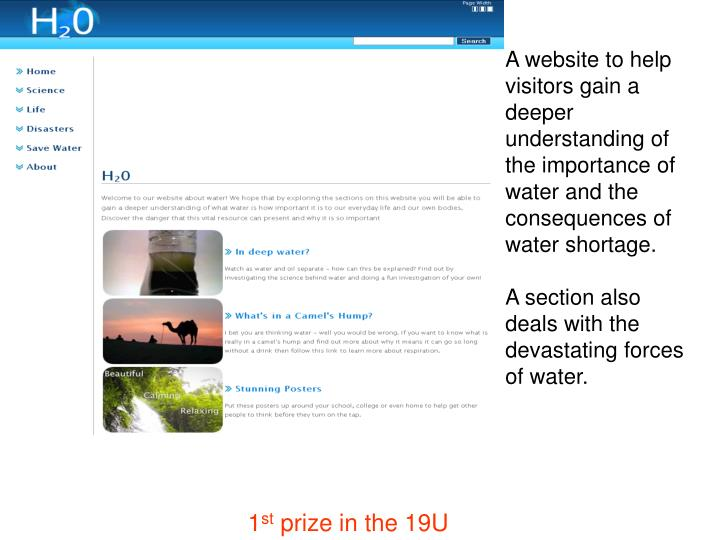 A website to help visitors gain a deeper understanding of the importance of water and the consequences of water shortage.