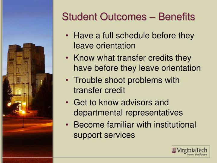 Student Outcomes – Benefits