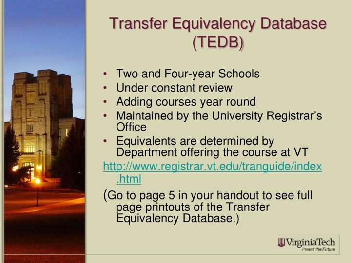 Transfer Equivalency Database