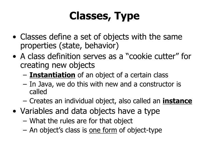 Classes, Type