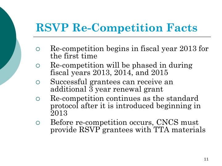 RSVP Re-Competition Facts