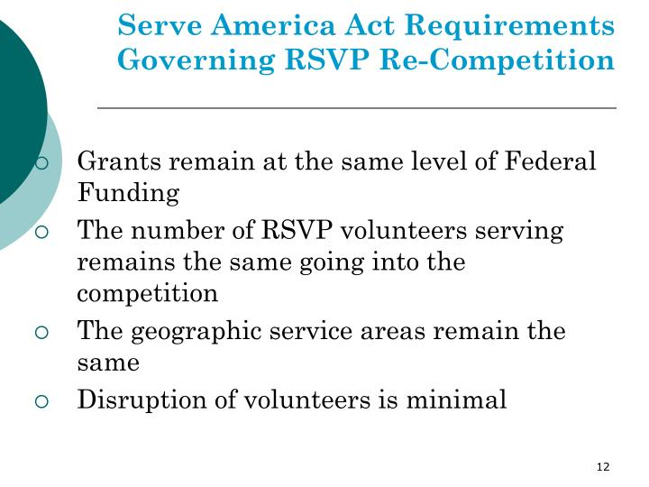 Serve America Act Requirements Governing RSVP Re-Competition