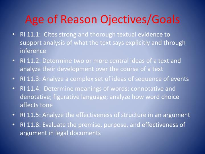 Age of Reason Ojectives/Goals