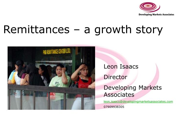 Remittances a growth story