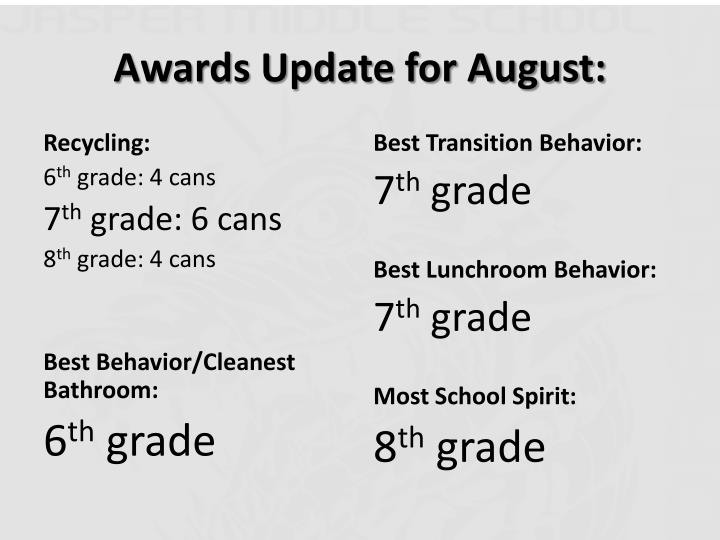 Awards Update for August:
