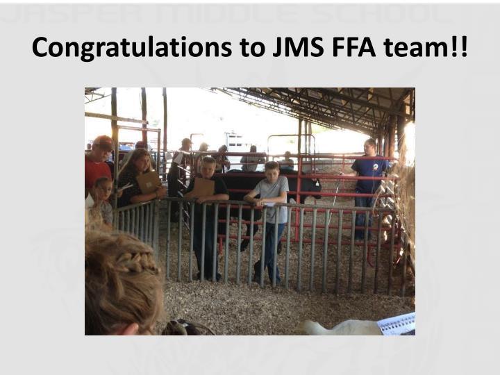 Congratulations to JMS FFA team!!